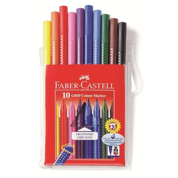 Faber-Castell 155310 marcatore Nero, Blu, Marrone, Ciano, Verde, Rosa, Rosso, Viola, Giallo 10 pezzo(i) cod. 155310