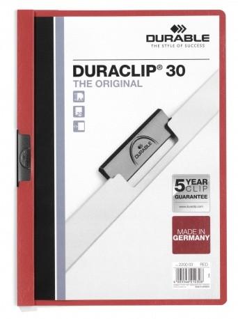 Durable Duraclip 30 cartellina con fermafoglio Rosso, Trasparente PVC cod. 220003