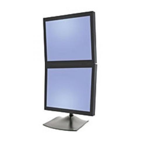"""Ergotron DS100 Supporto per due monitor in verticale (nero) per LCD inferiori ai 24"""". Inclina (fino a 180°), ruota sx/dx (fino a 180°), ruota P/L (fino a 360°) - 33-091-200"""