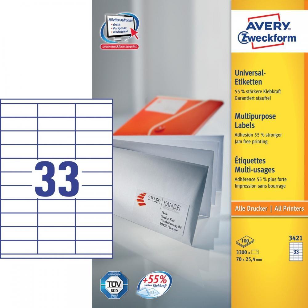 Avery 3421 etichetta per stampante Bianco Etichetta per stampante autoadesiva cod. 3421