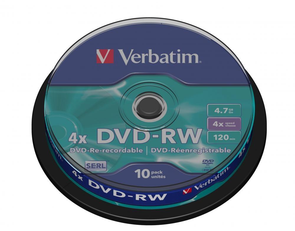 Verbatim DVD-RW Verbatim Matt Silver 4x - Capacità: 4.7GB - Velocità: 4x - Confezione: 10 Pack Spindle/Campana - Superficie: Matt Silver - I dischi DVD-RW Verbatim possono essere riscritti fino a 1000 volte. - 43552
