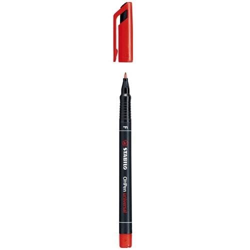 Stabilo Stabilo OHPen universal permanente colore rosso punta fine 0 7mm per lucidi  superfici liscie e CD-rom  ricaricabile (cof. 10 pz) - 842/40