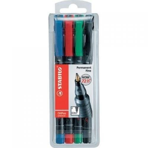 STABILO OHPen universal permanent, 4 Pack marcatore permanente Nero, Blu, Verde, Rosso Tipo di punta 4 pezzo(i) cod. 842/4