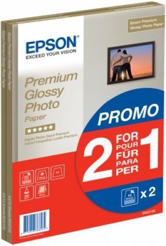 Epson Premium Glossy Photo Paper - A4 - 2x 15 Fogli cod. C13S042169