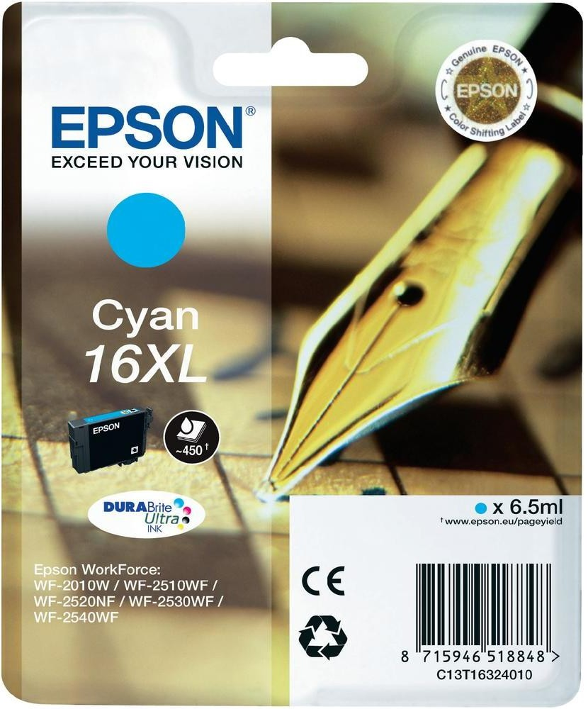 Epson Singlepack Cyan 16XL DURABrite Ultra - C13T16324010