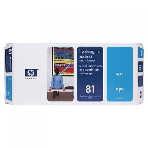 HP Testina di stampa dye e dispositivi di pulizia ciano DesignJet 81 cod. C4951A