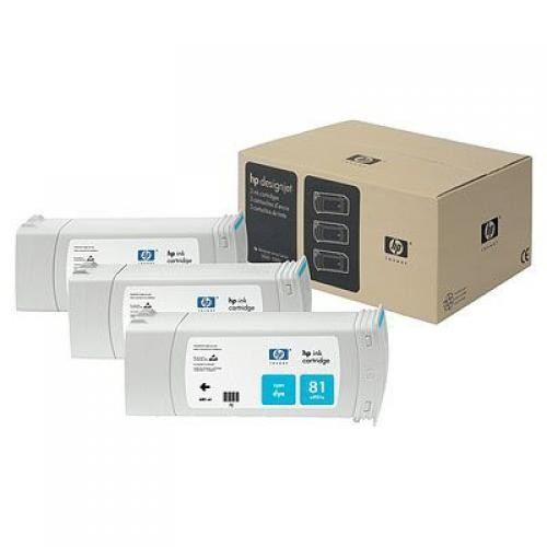 HP 81 3-pack 680-ml Cyan Dye Cartridges - C5067A