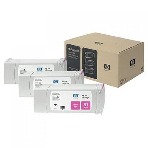 HP Confezione da 3 cartucce di inchiostro dye magenta DesignJet 81, 680 ml cod. C5068A