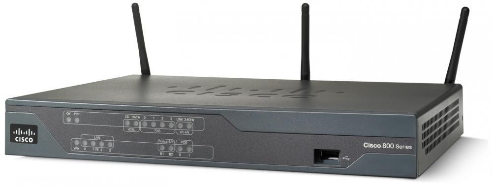 Cisco 881 router wireless Banda singola (2.4 GHz) Fast Ethernet Nero cod. C881W-E-K9