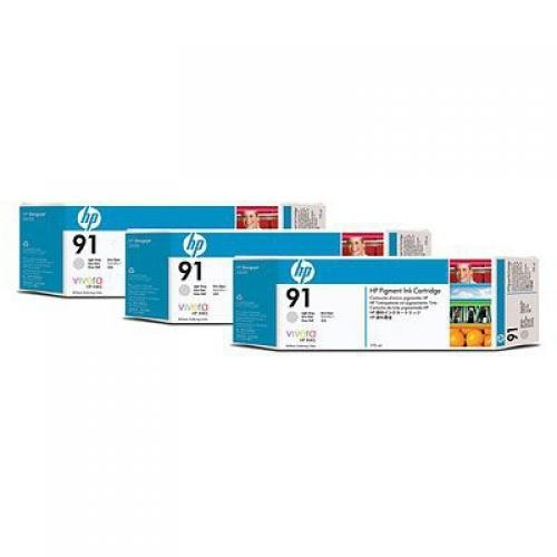 HP 91 3-pack 775-ml Light Gray Ink Cartridges - C9482A