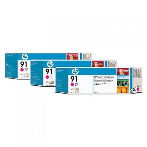 HP 91 3-pack 775-ml Magenta Ink Cartridges - C9484A