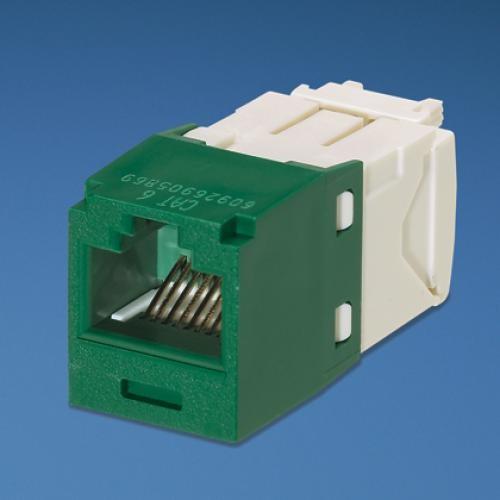 Panduit UTP RJ-45 MiniJack kat6, green/white Bianco cod. CJ688TGGR