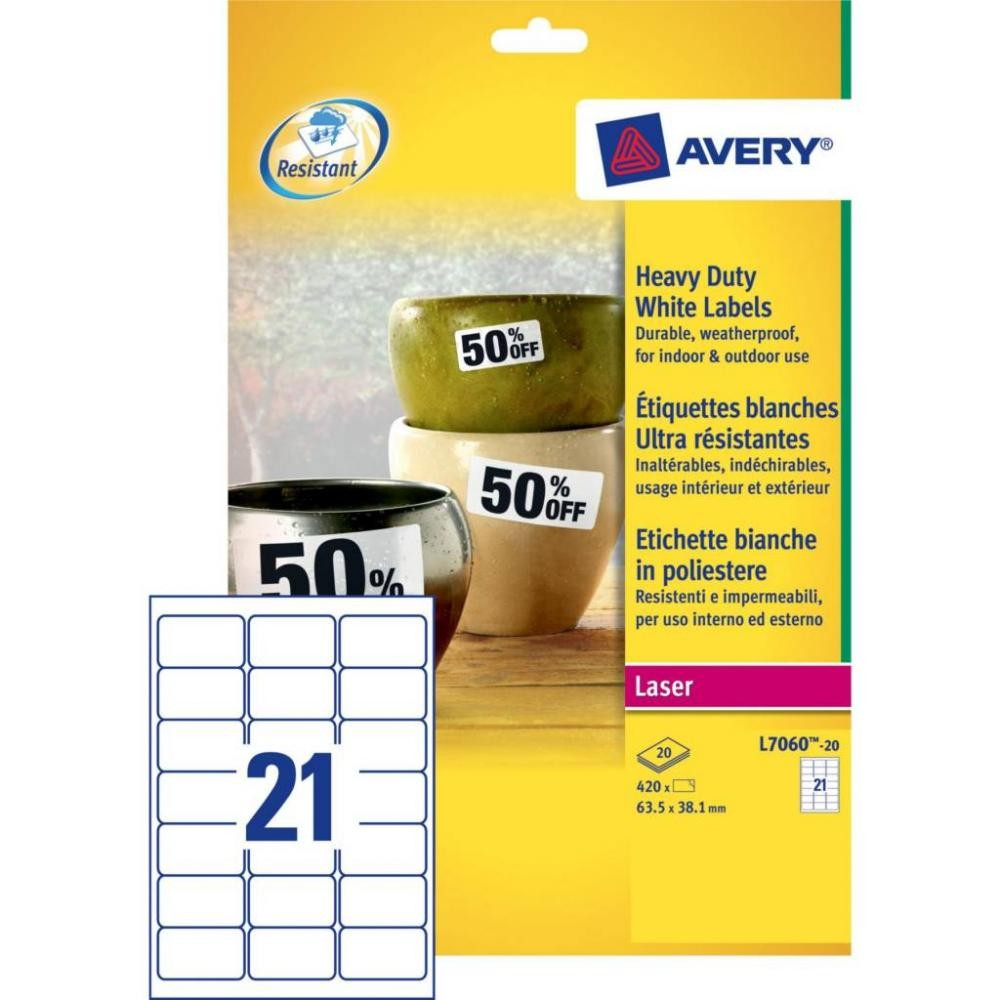 Avery Etichette in poliestere bianco - per stampanti Laser - 63,5 x 38,1 mm cod. L7060-20