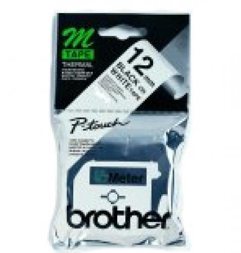 Brother Labelling Tape - 12mm, Black/White, Blister nastro per etichettatrice M cod. M-K231B