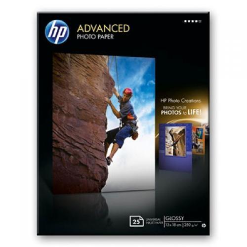 HP Confezione da 25 fogli carta fotografica lucida 13 x 18 cm senza margini Advanced cod. Q8696A